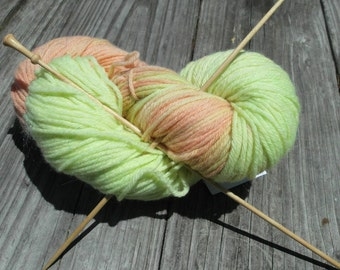 Hand dyed wool sock yarn - lime green and peach - fingering weight merino wool, 440 yards