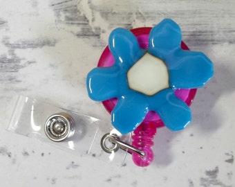 Fused glass badge reel - badge reel - ID tag reel - ID badge - retractable badge reel - retractable fused glass badge holder - blue flower