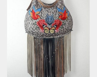 13adce9f9658 Leopard Print Fringe with Patches