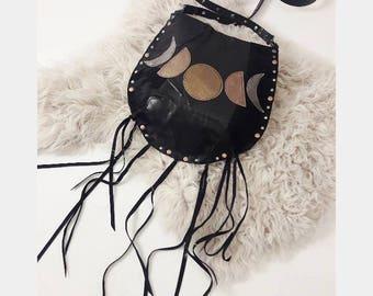 Black Patch Multi Moonphase Crossbody Bag