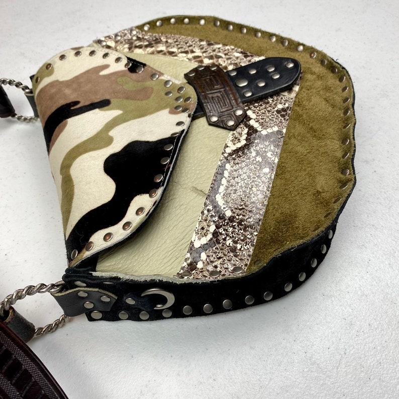 Camouflage Crossbody Bag Snakeskin Camo Leather Crossbody Purse Ivory Olive Patchwork Studded Bag One of a Kind Festival Bag Hippy Boho