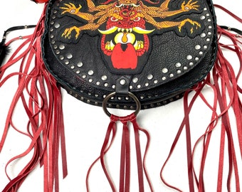 Large Black and Red Leather Fringed Bag/ Psychofest Patch Studded Shoulder Bag/ Wild Style Metal Rock Roll Reclaimed Studded Leather Purse