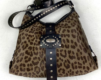 Grey Black Brown Leopard Printed Calf Hair on Hide Shoulder Bag/ Tote Style Animal Print Pony Hair Purse/ Studded Exotic Funky One of a Kind