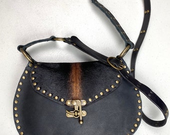 Black Leather and Hair on Cowhide Crossbody Bag/ Small Studded Black and Brown Crossbody Purse/ Vintage Look Biker Style Crossbody Purse/