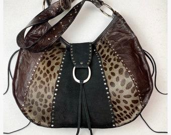 Large Lightweight Leopard Leather Hobo Style Shoulder Bag/ One of a Kind Studded Leopard Patchwork Bag