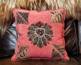 Sacred Heart Gothic Style Suede Pillow/ Beaded Leather Studded Decorative Pillow/ One of a Kind Unique Dark Arts/ Rock and Roll Style