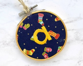 personalized ornament, custom family christmas ornament, cozy mittens fabric bauble, kids name ornament, baby name ornament, stocking tag