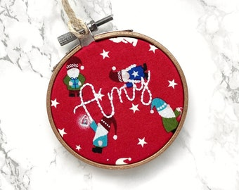 custom ornament, personalized christmas bauble, baby name ornament for kids, stocking tags canada, christmas tree decorations, gnomes