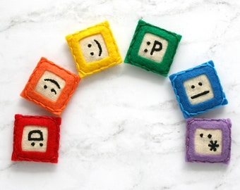 emoji magnets, embroidered geeky gift for men, cute office supplies, small birthday gift for teen boy, birthday gift for gamer, cheer up