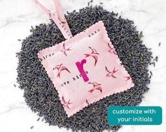 personalized lavender sachet, custom stocking stuffers for friend, christmas gift for girlfriend, car air freshener, self love gift (birds)