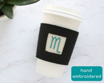 scorpio gift, felt coffee sleeve, reusable cup cozy, cheer up gift for friend, zodiac sign gift, thank you gift for coworker, appreciation
