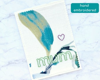 mum card, birthday card for mum, card for mother in law, mom embroidery, keepsake card for mother, missing you card, sending love card