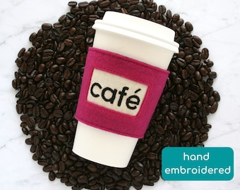 café felt coffee sleeve, end of year gift for teacher, reusable cup cozy, thank you gift for coworker, cheer up gift, appreciation gift