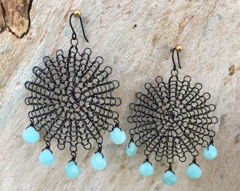 Wire lace and amazonite