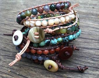 Hand woven beaded leather bracelet