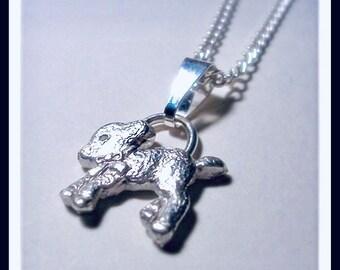Custom order FINE SILVER  Mary had a little lamb pendant