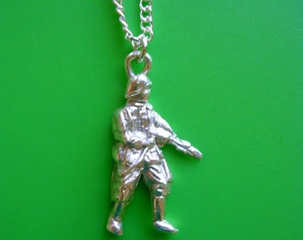 Toy Soldier Army man fine silver pendant