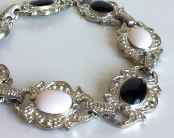 Black White Bracelet with Ornate Silver Vintage Links - Textured Metal with Glossy Oval Enamel Black and Cream - Versatile and Neutral