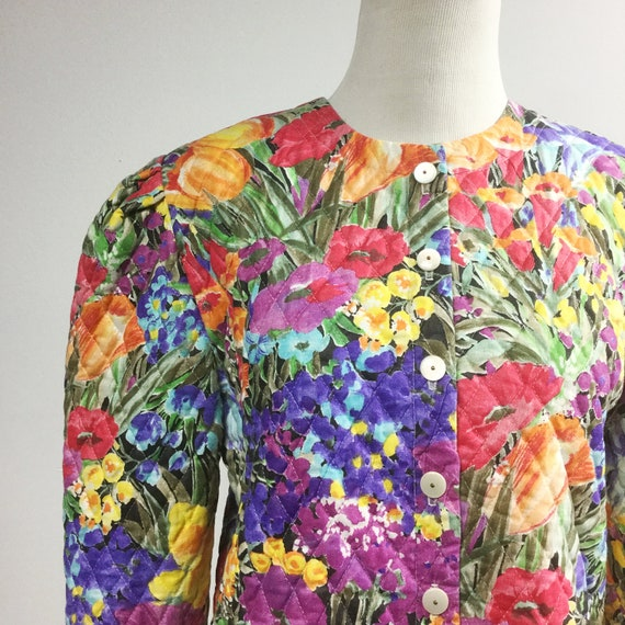 Quilted floral jacket w red yellow purple flowers short etsy image 0 mightylinksfo
