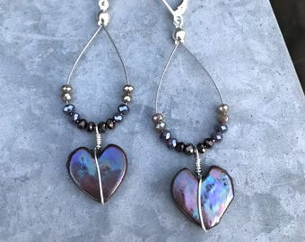Freshwater Pearl Hearts Dangle Earring Sterling Silver With Ombre Crystals Wire Wrapped Perfect Gift Pretty Pearls
