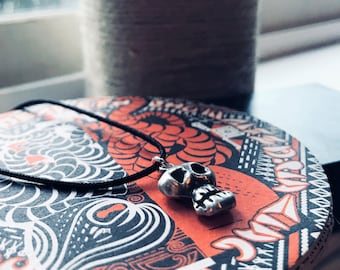 Sterling Silver Skull One Of A Kind Artist Made With Adjustable Black Nylon Cord Silver Ends