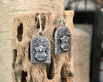 Cutest OWL Earrings With Fiesta Background Sterling Silver Handmade And One of A Kind Great For Women Or Young Girls Woodland Chic Cute