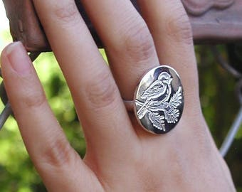SIZE 6 Modern Sterling Silver Perched Birdy Ring On Branch Large Round Top On Sterling Silver Band