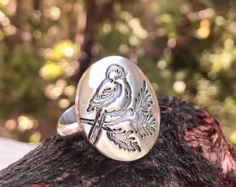 Last 2! Bird Statement Ring Sterling Silver Size 6 OR Size 7 Antiqued Silver Birdy On Branch Design Large Round With Band Etched Woodland