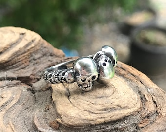 Last Ones! Skull Ring Sterling Silver For Women Ready To Ship In SIZE 6  Or Size 7 Skeleton Head Band With Tiki Totem Carved Band Skull Head