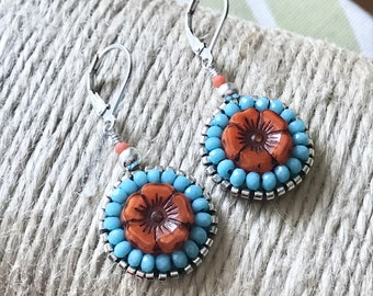 Flower Dangle Earrings Hand Beaded Orange And Turquoise Sterling Silver Lever Backs Handcrafted And One Of A Kind Island Jewelry Boho Hippie