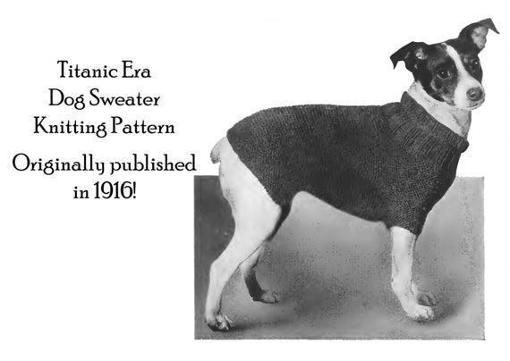 1916 Hund Pullover Stricken Muster Titanic ära Diy Welpe Etsy