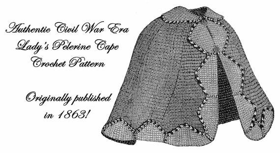 Bürgerkrieg Tricot häkeln Umhang Cape Muster DIY 1863 | Etsy