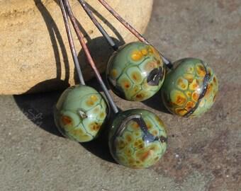 10 Leaf Headpins Handmade Glass Lampwork Leaves