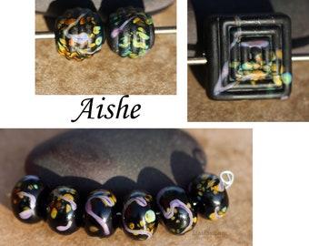 Aishe - Handmade Lampwork Glass Black Tan Brown Bicone Round Spacer Beads - SRA Elasia - MTO