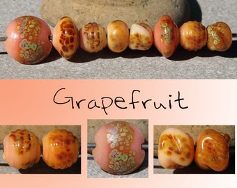 Grapefruit - Handmade Lampwork Glass peach coral Bicone Round Spacer Beads - SRA Elasia - MTO