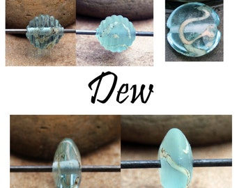 Dew  - Handmade Glass Lampwork Coin, Round, Lentil, Bicone,Tile Beads SRA MTO Choose shape