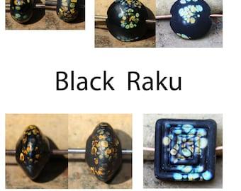 Black Raku - Handmade Lampwork Glass Tan Brown Bicone Round Spacer Beads - SRA Elasia - MTO