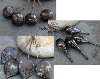 Chocolate - Handmade Lampwork Glass HeadPins - SRA Head Pin Elasia MTO - Choose Shape and Finish!
