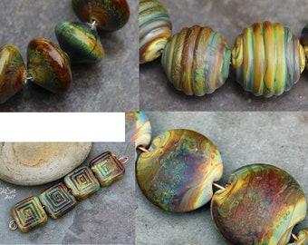 Raku  - Handmade Glass Lampwork Coin, Round, Lentil, Bicone,Tile Beads SRA MTO Choose shape