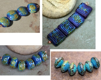 Carib - Handmade Lampwork Glass Bicone Beads - SRA Elasia - MTO - Choose shape and finish
