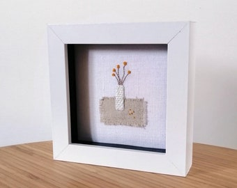 Pom Pom Yellow Flowers in a Vase Original Hand Embroidered Mini Framed Artwork