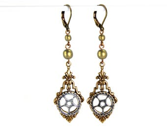 Steampunk Earrings Antiqued Brass Neo Victorian Earrings with Pocket Watch Gear and Czech Glass