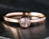 Rose Gold Morganite Ring, Pink Gemstone 14k Rose Gold Band, Soft Pink Stone, Simple Engagement, Pink Gold Ring, Dainty Engagement