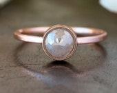 Custom Rose Cut Natural Diamond Ring,  14k Rose Gold Unique Engagement Ring