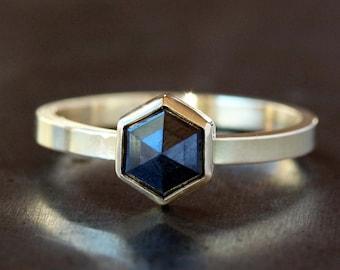 Black Diamond Hexagon Ring, Rose Cut Black Diamond, 18k Yellow Gold Band, Unique Engagement Ring, Hexagonal Diamond, Conflict Free