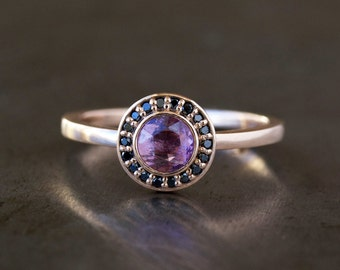 Pink Sapphire Halo Ring, Unique Engagement Ring, Black Diamond Halo, Rose Cut Pink Sapphire, 14k Rose Gold Band, Pink Gold Ring