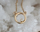 Diamond Dot Mini Circle Necklace, 14k Yellow Gold Adjustable Chain