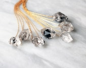 Herkimer Diamond Necklace - Sterling Silver, 14k Rose Gold Filled or 14k Gold Filled Custom Length Chain - Raw Gemstone Crystal Point