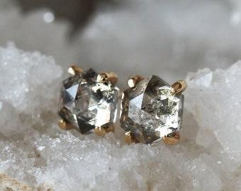 Diamond Hexagon Studs, Hexagon Earrings, Geometric Earrings, Rose Cut Salt and Pepper Diamonds, Claw Setting, 14k Yellow Gold Diamond Studs