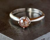 Rose Cut Diamond Ring, 18k Palladium White Gold, Prong Set Natural Color Diamond, Unique Engagement Ring